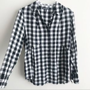 Pea in the Pod Gingham Buffalo Check Maternity Top